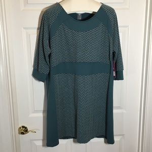 Soybu Green Chevron 3/4 Sleeve Sweater Dress